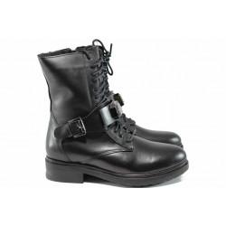 Дамски боти от естествена кожа с топъл хастар МИ 50-04 черен | Дамски боти и ботуши | MES.BG