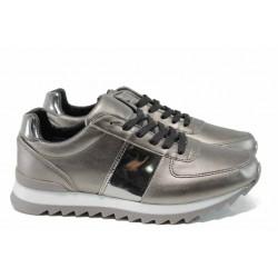 Дамски спортни обувки с връзки МИ 259-253 сребро | Дамски маратонки | MES.BG