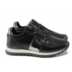 Дамски спортни обувки с връзки МИ 259-253 черен | Дамски маратонки | MES.BG