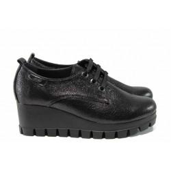 Анатомични дамски обувки от естествена кожа МИ 244-355 черен | Дамски обувки на платформа | MES.BG