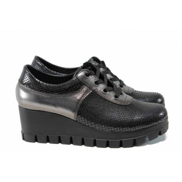 Анатомични дамски обувки от естествена кожа МИ 241 черен змия | Дамски обувки на платформа | MES.BG