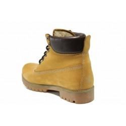 Юношески боти от естествен набук с топъл хастар МИ 16 жълт | Дамски боти | MES.BG