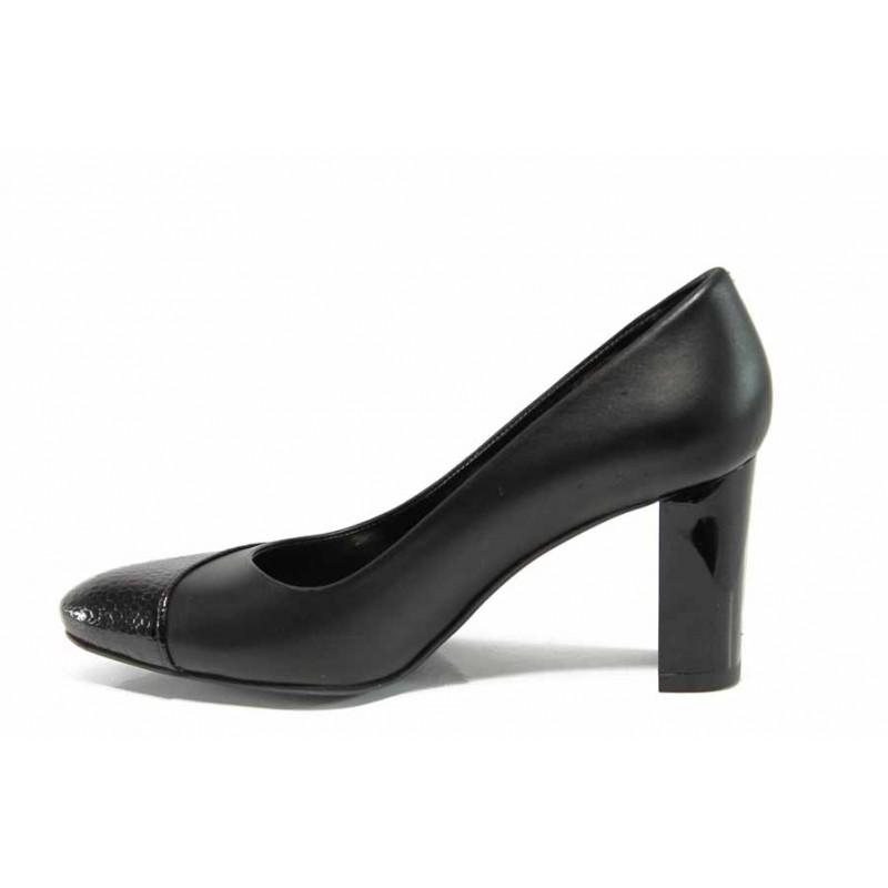 Дамски обувки от естествена кожа МИ 160 черен | Дамски обувки на висок ток | MES.BG
