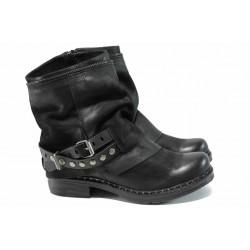 Български боти от естествена кожа ИО 1510 черен | Дамски боти с топъл хастар | MES.BG