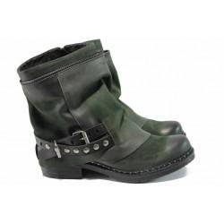 Български боти от естествена кожа ИО 1510 опушено зелен | Дамски боти с топъл хастар | MES.BG