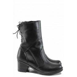 Дамски боти от естествена кожа НЛ 121-1611 черен | Дамски боти с топъл хастар | MES.BG