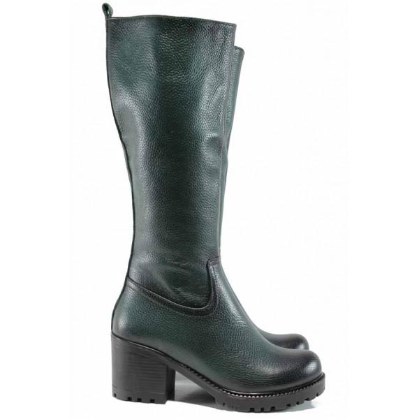 Дамски ботуши от естествена кожа МИ 96 зелен | Дамски ботуши с топъл хастар | MES.BG