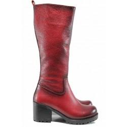 Дамски ботуши от естествена кожа МИ 96 червен | Дамски ботуши с топъл хастар | MES.BG
