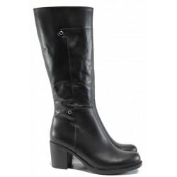 Дамски ботуши от естествена кожа МИ 708 черен | Дамски ботуши с топъл хастар | MES.BG