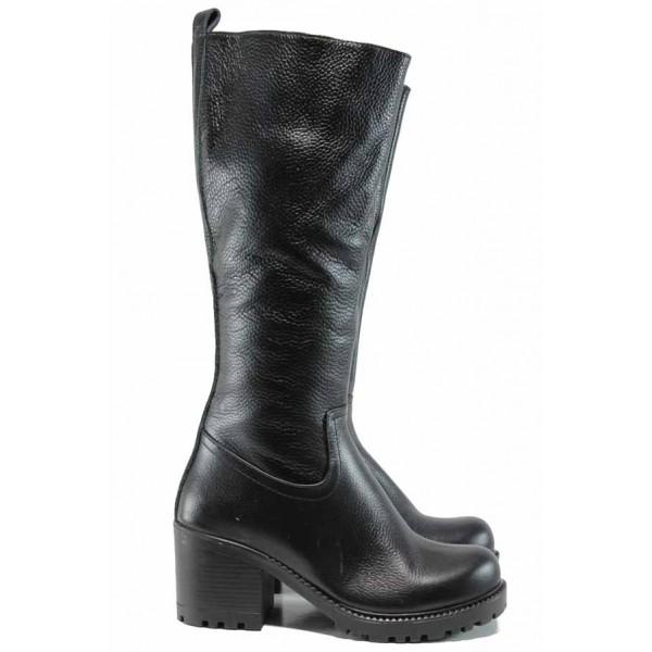 Дамски ботуши от естествена кожа МИ 96 черен | Дамски ботуши с топъл хастар | MES.BG