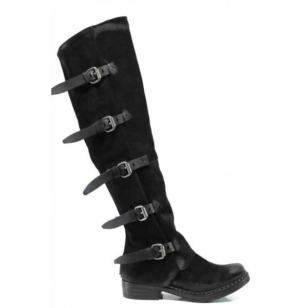 Български дамски ботуши от естествен набук тип чизми ИО 1736 черен | Дамски ботуши с топъл хастар | MES.BG