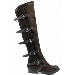 Български дамски ботуши от естествен набук тип чизми ИО 1736 кафяв | Дамски ботуши с топъл хастар | MES.BG