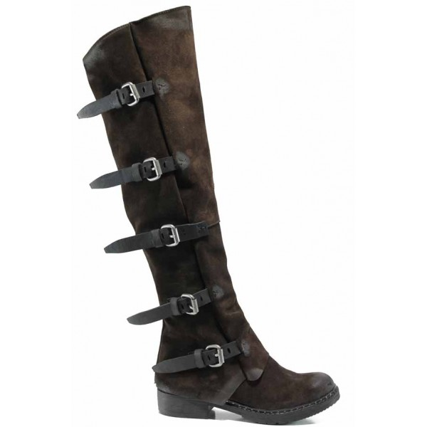 Български дамски ботуши от естествен набук тип чизми ИО 1736 кафяв   Дамски ботуши с топъл хастар   MES.BG