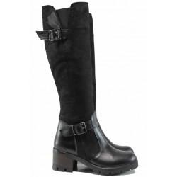 Дамски ботуши от естествена кожа МИ 907-1 черен | Дамски ботуши с топъл хастар | MES.BG