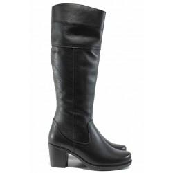 Дамски ботуши от естествена кожа МИ 346 черен | Дамски ботуши с топъл хастар | MES.BG