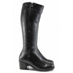 Дамски ботуши от естествена кожа МИ 825 черен | Дамски ботуши с топъл хастар | MES.BG