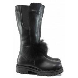 Атрактивни дамски ботуши от естествена кожа МИ 235 черен | Дамски ботуши с топъл хастар | MES.BG