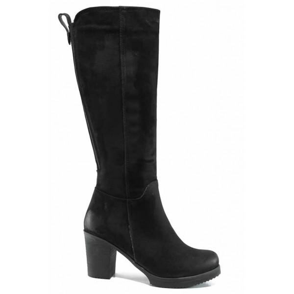 Дамски ботуши от естествен набук за Н крак МИ 440 черен | Дамски ботуши с топъл хастар | MES.BG