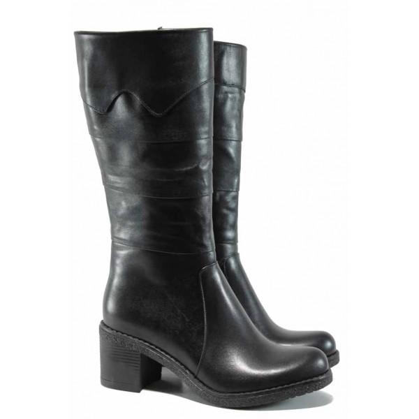 Дамски ботуши от естествена кожа МИ 850 черен | Дамски ботуши с топъл хастар | MES.BG