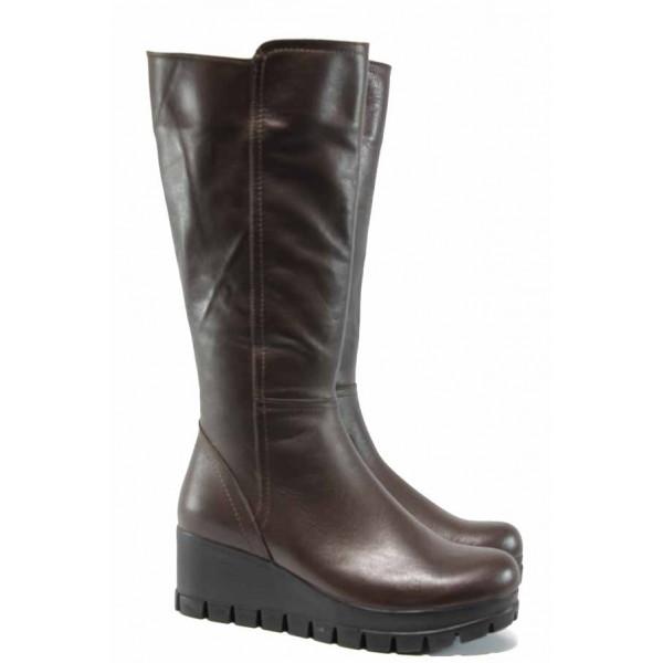 Дамски ботуши от естествена кожа МИ 710 кафяв | Дамски ботуши с топъл хастар | MES.BG