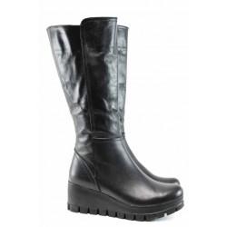 Дамски ботуши от естествена кожа МИ 710 черен | Дамски ботуши с топъл хастар | MES.BG