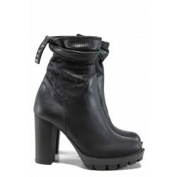 Български дамски боти от естествена кожа ИО 2030 черен | Дамски боти с топъл хастар | MES.BG