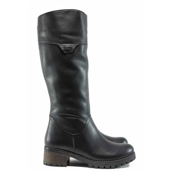 Дамски ботуши от естествена кожа МИ 265 черен | Дамски ботуши с топъл хастар | MES.BG