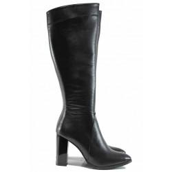 Дамски елегантни ботуши от естествена кожа МИ 885 черен | Дамски ботуши на ток | MES.BG