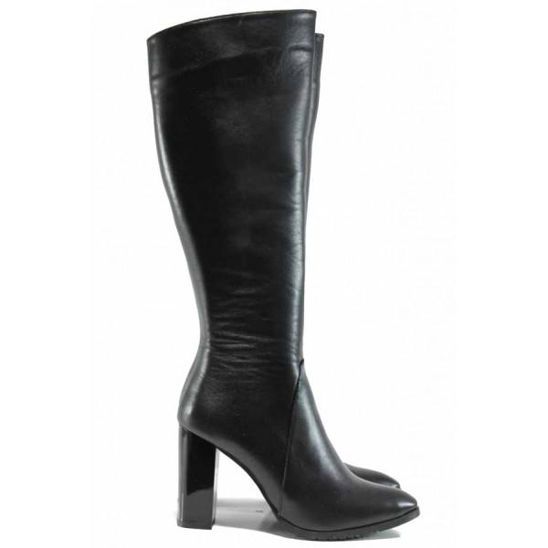 Дамски елегантни ботуши от естествена кожа МИ 885 черен   Дамски ботуши на ток   MES.BG