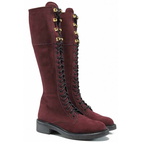 Български дамски ботуши от естествен набук за XS крак ИЗ 16214-060 бордо | Дамски ботуши с топъл хастар | MES.BG
