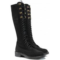 Български дамски ботуши от естествен набук за XS крак ИЗ 16214-060 черен | Дамски ботуши с топъл хастар | MES.BG