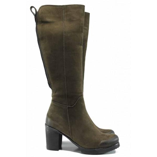 Дамски ботуши от естествен набук за Н крак МИ 440 зелен | Дамски ботуши с топъл хастар | MES.BG