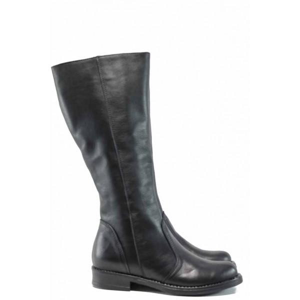 Български дамски ботуши от естествена кожа НЛ 309 Кира черен | Дамски ботуши с топъл хастар | MES.BG