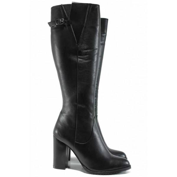 Дамски елегантни ботуши от естествена кожа МИ 187 черен | Дамски ботуши с топъл хастар | MES.BG