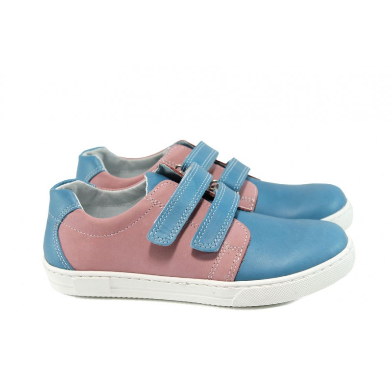 Анатомични български детски обувки от естествена кожа КА L5D1 син-розов 31/36 | Детски обувки | MES.BG