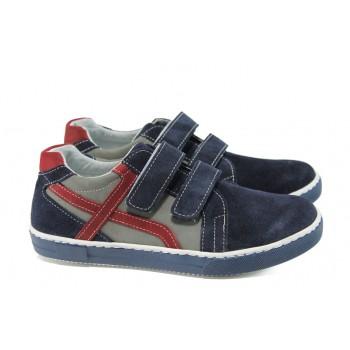 Анатомични български обувки от естествен набук КА L1D1 син-сив 31/36   Детски обувки   MES.BG