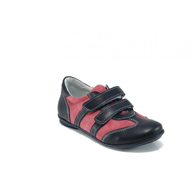 Анатомични български детски обувки от естествена кожа КА F1 син-розов 31/36 | Детски обувки | MES.BG