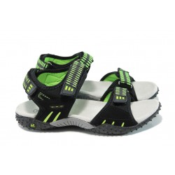 Анатомични детски сандали с лепенка АБ 1616 черен-зелен 31/36 | Детски чехли и сандали | MES.BG