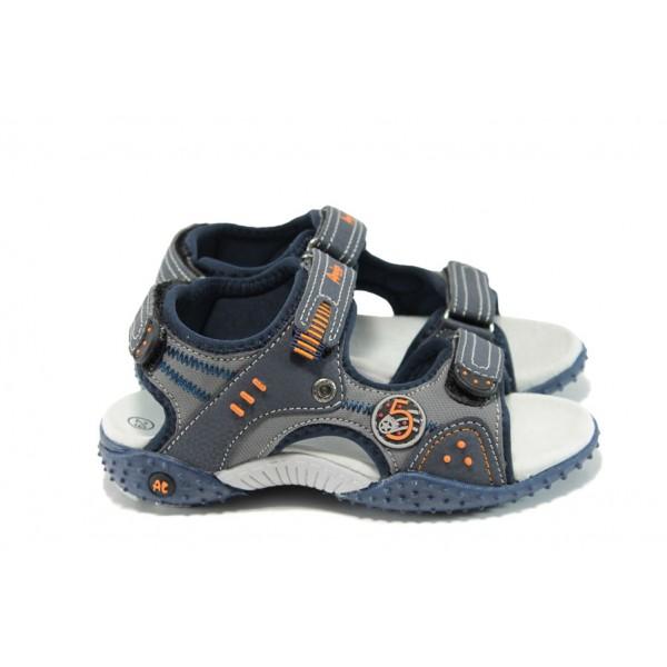 Анатомични детски сандали с лепенка АБ 1614 т.син 26/30 | Детски чехли и сандали | MES.BG