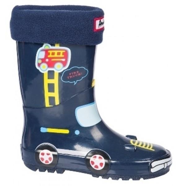 Детски гумени ботуши с топъл свалящ се чорап АБ KAL-22 син кола 27/31 | Гумени ботуши |MES.BG