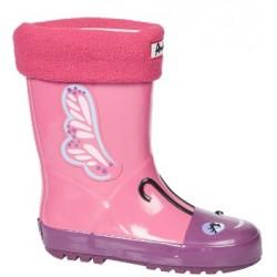 Детски гумени ботуши с топъл свалящ се чорап АБ KAL-22 розов пеперуда 27/31 | Гумени ботуши |MES.BG