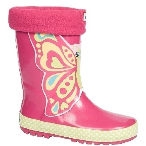 Детски гумени ботуши с топъл свалящ се чорап АБ KAL-12 розов пеперуда 22/26 | Гумени ботуши |MES.BG