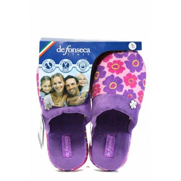 Анатомични дамски чехли с мемори пяна ДФ ROMA TOP W228 лилав | Домашни чехли | MES.BG