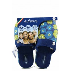 Анатомични дамски чехли с мемори пяна ДФ ROMA TOP W228 син | Домашни чехли | MES.BG