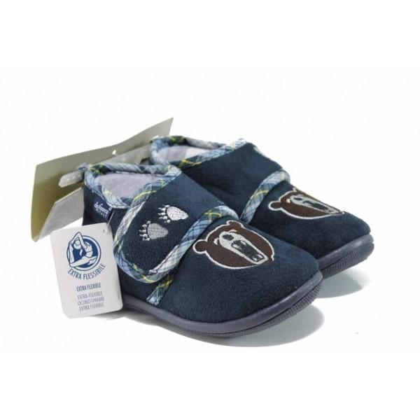 Анатомични домашни пантофи с лепенки Defonseca PESCARA K200 син 19/30   Домашни чехли и пантофи   MES.BG
