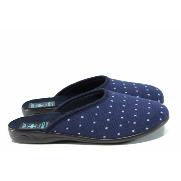 Анатомични дамски чехли с Bio ходило МА 22247 син | Домашни чехли | MES.BG