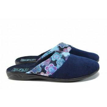 Анатомични дамски чехли с Bio ходило МА 22277 син цветя   Домашни чехли   MES.BG
