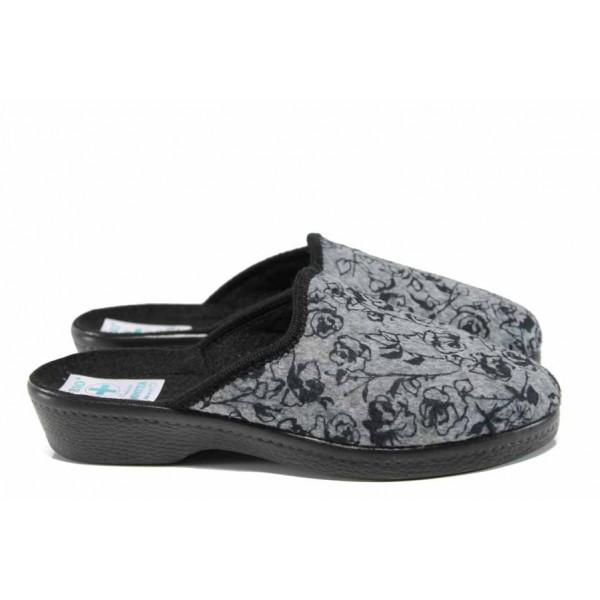 Анатомични дамски чехли с Bio ходило МА 22453 сив | Домашни чехли | MES.BG