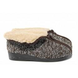 Анатомични дамски домашни пантофи с Bio ходило и естествена вълна МА 14677 кафяв | Домашни чехли | MES.BG