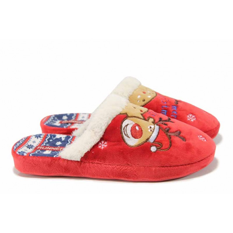 Анатомични дамски домашни чехли РС 130216 червен | Домашни чехли | MES.BG